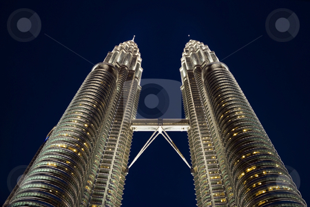Kuala Lumpur twin towers stock photo, The Kuala Lumpur twin towers at night by Stefan Breton