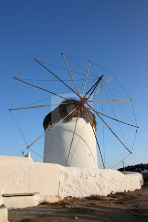 Mykonos Windmill stock photo, One of the many windmills of Mykonos island, Greece (wide-angle shot) by Georgios Alexandris