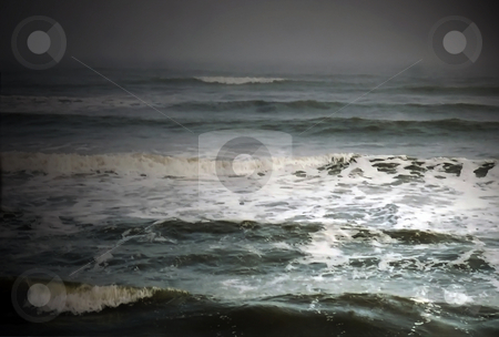 Stormy Surf stock photo, Mist and Fog rolling in over the waves during a thunderstorm by Marburg