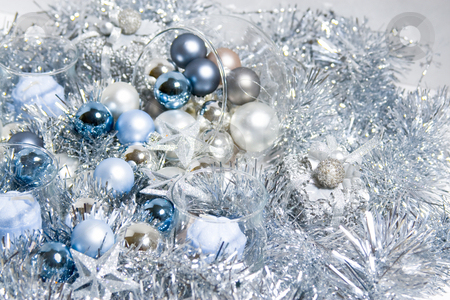 Christmas ornaments stock photo, X-mas ornaments sitting on fake snow by Jose Wilson Araujo