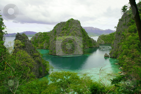 Green lagoon stock photo, Scenic view of the green lagoon from the top of an island by Jonas Marcos San Luis