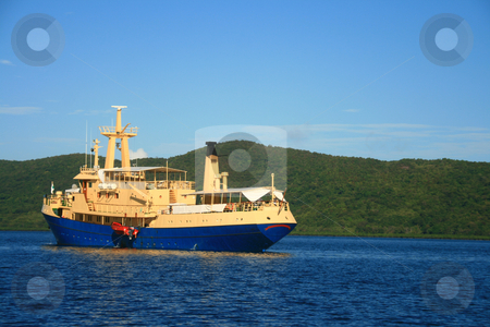 Cruise ship stock photo, A small blue cruise ship on a sunny day by Jonas Marcos San Luis