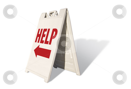 Help Tent Sign stock photo, Help Tent Sign Isolated on a White Background. by Andy Dean