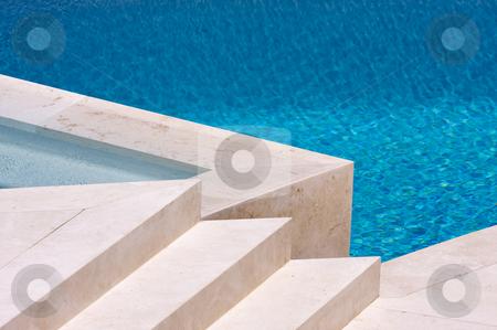 Custom Luxury Pool and Steps stock photo, Custom Luxury Pool and Steps Abstract by Andy Dean