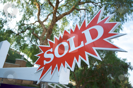 Sold Burst Sign stock photo, Sold Burst Real Estate Sign by Andy Dean