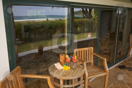 Oceanfront Lanai stock photo, Oceanfront Lanai with Reflection of View. by Andy Dean