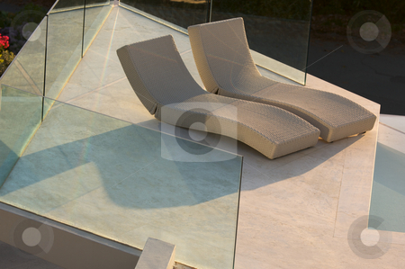 Custom Luxury Pool and Chairs stock photo, Custom Luxury Pool and Chairs Abstract by Andy Dean