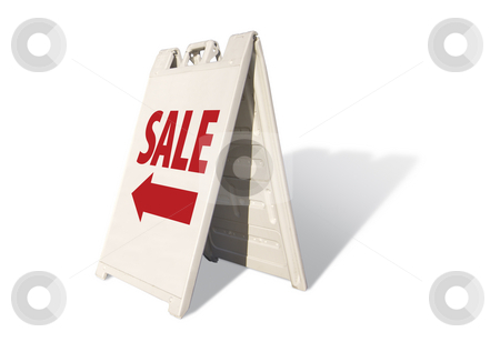 Sale Tent Sign stock photo, Sale Tent Sign Isolated on a White Background. by Andy Dean