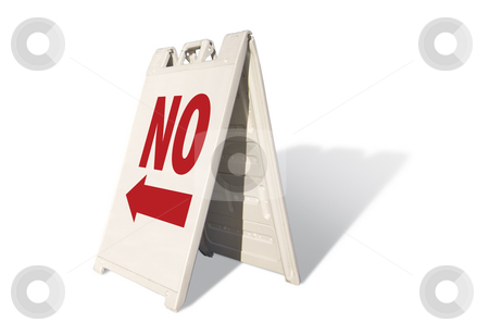 No Tent Sign stock photo, No Tent Sign Isolated on a White Background. by Andy Dean