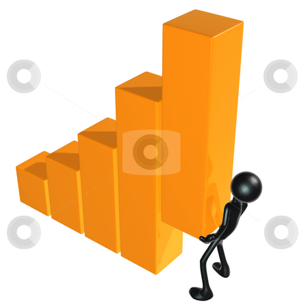 Lifting The Bar Graph stock photo, A Concept And Presentation Figure in 3D by LuMaxArt