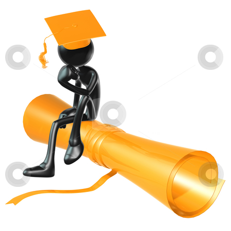 Graduation Thinker stock photo, A Concept And Presentation Figure in 3D by LuMaxArt