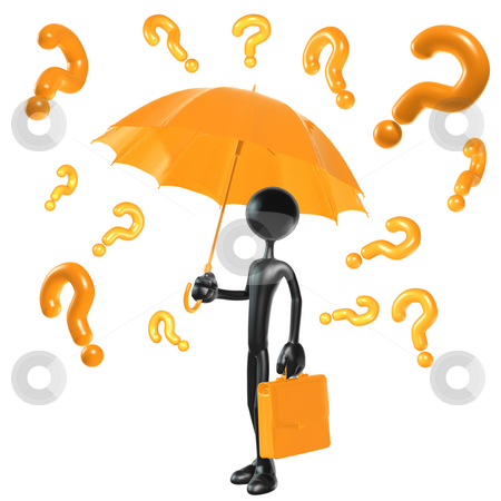Raining Questions stock photo, A Concept And Presentation Figure in 3D by LuMaxArt