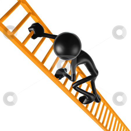 Ladder Climb stock photo, A Concept And Presentation Figure in 3D by LuMaxArt