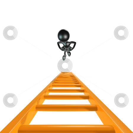 Looking Up Ladder stock photo, A Concept And Presentation Figure in 3D by LuMaxArt