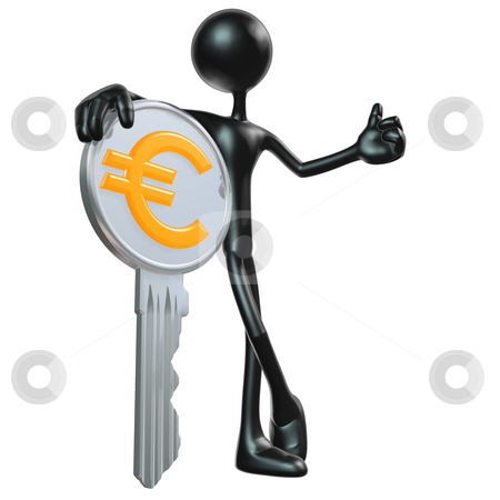 Chrome Euro Key stock photo, A Concept And Presentation Figure in 3D by LuMaxArt