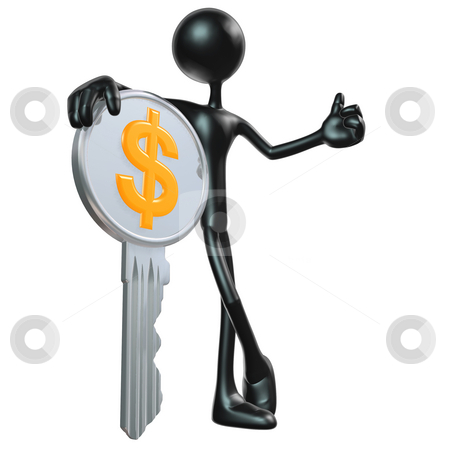 Chrome Dollar Key stock photo, A Concept And Presentation Figure in 3D by LuMaxArt