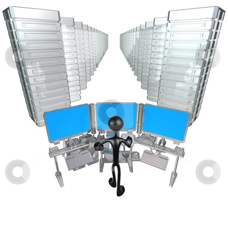 Endless Servers stock photo, A Concept And Presentation Figure in 3D by LuMaxArt