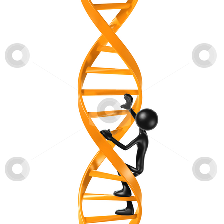 Climbing DNA Ladder stock photo, A Concept And Presentation Figure in 3D by LuMaxArt