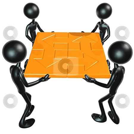 Teamwork Puzzle stock photo, A Concept And Presentation Figure in 3D by LuMaxArt
