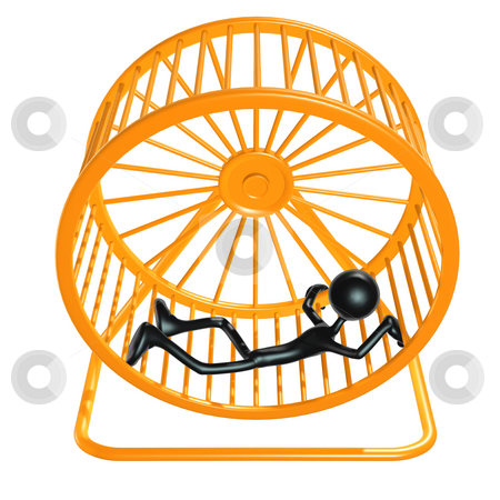 Worn Out Tired Hamster Wheel Runner stock photo, A Concept And Presentation Figure in 3D by LuMaxArt