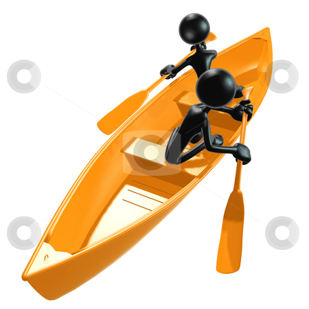 Teamwork Rowing stock photo, A Concept And Presentation Figure in 3D by LuMaxArt