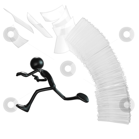 Falling Paperwork stock photo, A Concept And Presentation Figure in 3D by LuMaxArt