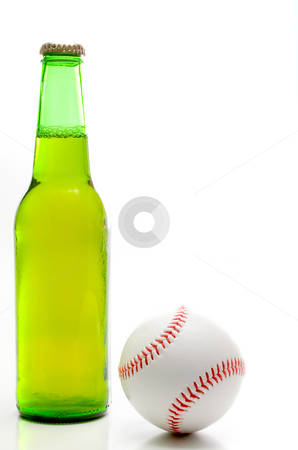 Baseball and Beer stock photo, A baseball and a bottle of beer. by Robert Byron