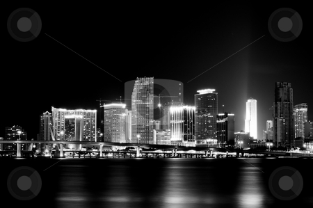 Downtown Miami in B&W stock photo, Downtown Miami in black and white. Taken from Watson Island by Justin Rosenberg