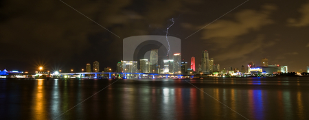 LIghtning Strikes Downtown Miami Skyline at Night stock photo, Lightning striking a building in the Miami Skyline at Night by Justin Rosenberg