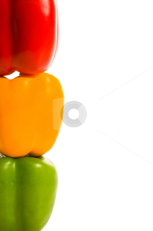 Stoplight Peppers stock photo, A stack of colorful and delicious stoplight peppers. by Robert Byron