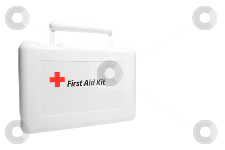 First Aid Kit stock photo, A white first aid kit with the universal red cross symbol. by Robert Byron