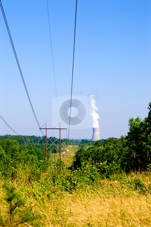 Nuclear Power Plant stock photo, View of a nuclear power plant with high tension wires. by Robert Byron
