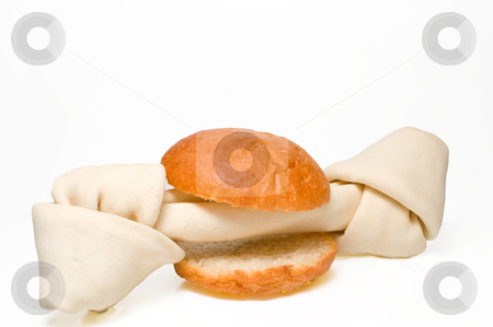 Bone Sandwich stock photo, A sandwich made with a rawhide dog bone. by Robert Byron