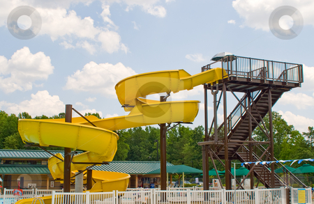 Waterslide stock photo, A big water slide at a waterpark or amusement park. by Robert Byron