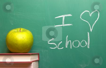 I Love School stock photo, I Love School written on a chalkboard. by Robert Byron