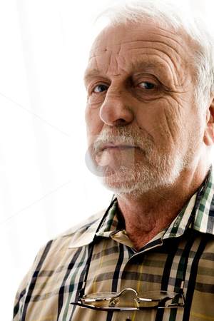 Bright white portrait of a grandfather stock photo, Portrait of an elderly man in bright white licht by Frenk and Danielle Kaufmann