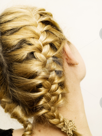 Goldie locks stock photo, Blonde woman pigtail isolated on white background by Adrian Costea