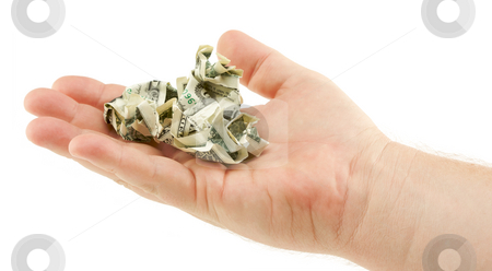 Crumpled Dollar Bills In Palm stock photo, Crumpled Dollar Bills In Palm Isolated on a White Background. by Andy Dean