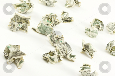 Crumpled Dollars stock photo, Crumpled Dollars on a White Background. by Andy Dean