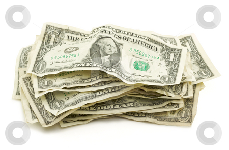 Pile of Crumpled Dollar Bills stock photo, Pile of Crumpled Dollar Bills Isolated on a White Background. by Andy Dean