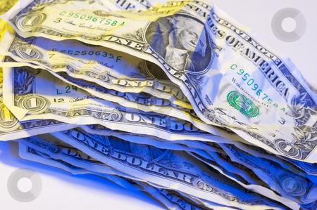 Pile of Crumpled Dollar Bills. stock photo, Pile of Crumpled One Dollar Bills. by Andy Dean
