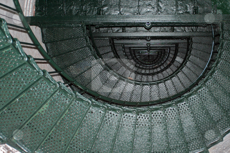 Lighthouse Stairs stock photo, Looking up the spiral staircase inside the Currituck lighthouse. by Marc Saegesser