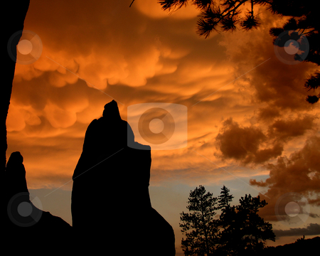 Black Hills Storm stock photo, At sunset, strong storms pass along Needles Highway creating rich and ominous colors.  Black Hills, SD. by Marc Saegesser