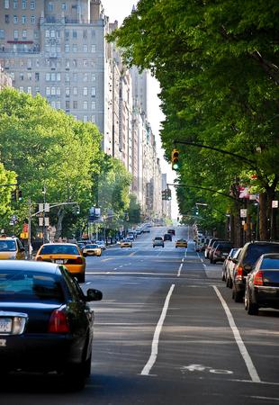 Light Traffic stock photo, Traffic along New York City's Central Park West street. by Michael Huitt