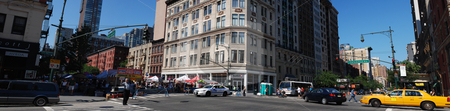 New York City Panorama stock photo, Panorama of the intersection of 72nd Street and Columbus Avenue in New York, New York. by Michael Huitt