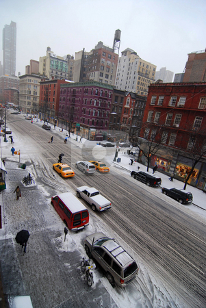 New York City Slush stock photo, A slushy March day on Columbus Avenue in New York City's Upper West Side neighborhood. by Michael Huitt