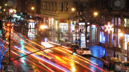New York Rain stock photo, Traffic on a rainynight on New York City's Columbus Avenue. by Michael Huitt