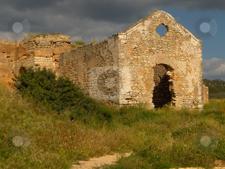 Ruined Church stock photo, A crumbling church in a ruined castle in the Algarve region of Portugal. by Jessica Tooley