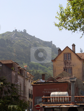 Sintra Portugal stock photo, Looking up a street in the village of Sintra, toward a castle on a hill. by Jessica Tooley