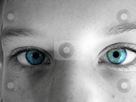 Blue eyes stock photo, Part of a face, blue eyes emphasized. by Rob Wright
